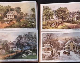 Currier & Ives Lithographs -  American Homestead Four Seasons Series