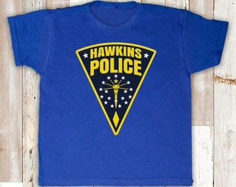 Hawkins Police Sherif Logo Badge Stranger Things Inspired TV Show Indiana PD Children's Boys Girls Baby T-shirt Top Tee Shirt All Sizes Cols