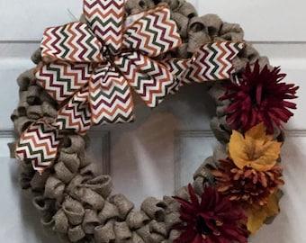 Fall Burlap Wreath- Burlap Wreath with Fall Daisies- Autumn Wreath-Thanksgiving Wreath- Front Door Wreath-Ready to ship