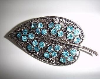 Lovely Sparkling Vintage Leaf Brooch with Blue Stones