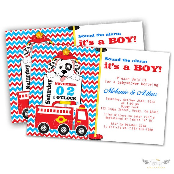 Firetruck Puppy Invitations & Blank Thank You Card to match
