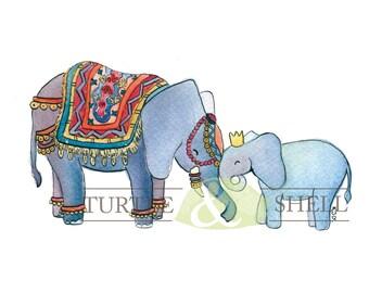 Watercolor Royal Elephant Family 8x10 Print
