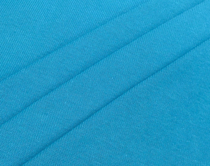 100% Cotton 1x1 Rib Knit Fabric (Wholesale Price Available By the Bolt) USA Made Premium Quality - 4001C3 Turquoise - 1 Yard