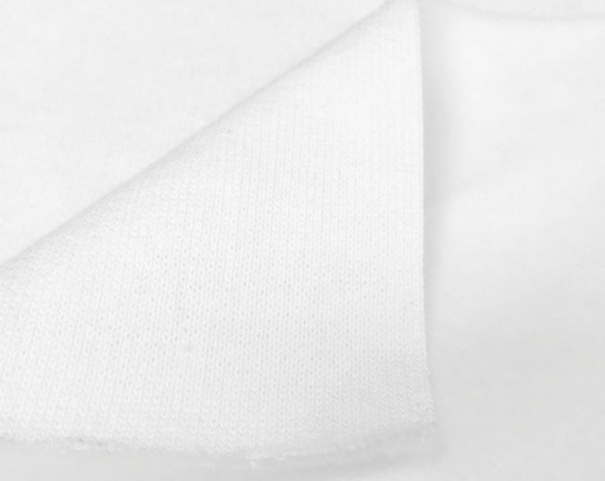 100% Cotton 3 End Fleece Fabric By the Yard (Wholesale Price Available By the Bolt) USA Made Premium Quality - 6061F White - 1 Yard