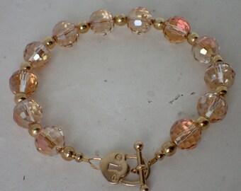 Orange Faceted Crystal Beaded Bracelet