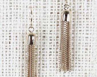 Chain tassel earrings - gold