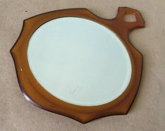 Vintage 1930 Amber Celluloid Hand Mirror. Vanity Mirror