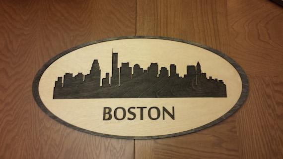 Boston Skyline Cityscape - 24 x 12 Custom Laser Cut - Wall Hanging Art - City Silouette