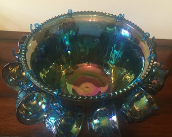 Vintage Carnival Glass Punchbowl w/12 cups. Blue Green Iridescent