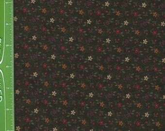 Kansas Troubles,small prairie flowers , on forest green 9054-19