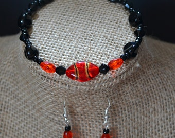 Earrings and Bracelet Set. Black and Red Glass Beads
