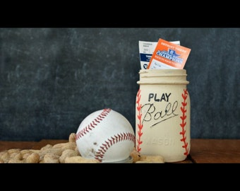 Play Ball Mason Jar