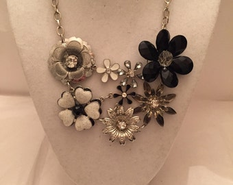 Black and White Flower Bib Necklace