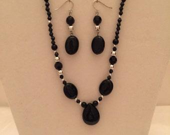 Petite Black Onyx Beaded Jewelry Set