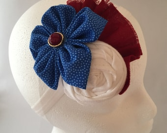 Patriotic Red White and Blue Rosette Flower Headband