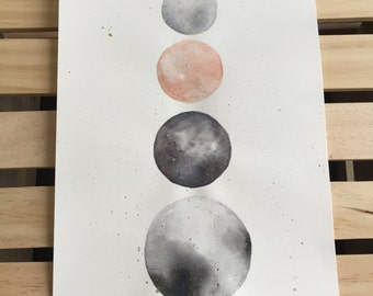 """Watercolor painting, moons, """"Celestial"""""""