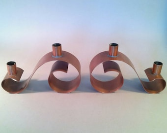 Pair of vintage scroll shaped handmade copper candleholders candlesticks candelabra mid-century Mexican? PRICE REDUCED