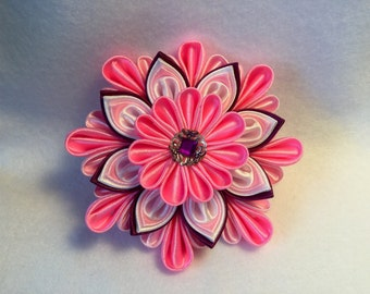 Kanzashi hair clips hair pin flower hand-made satin.