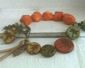 Charm bracelet of ⭐ coral of ⭐ boho style