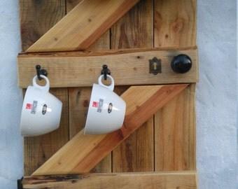 Reclaimed wood cup holder, cup rack, coffee cup holder, tea cup holder, wall mounted, rustic cup holder, barn door effect