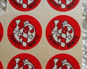 """Vintage Scratch & Sniff sticker """"Peppy Mints"""""""