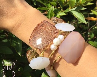 Blushing Beauties Wire Wrapped Bangles