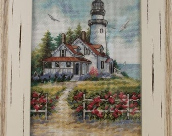 """Hand made.Embroidered with Beads picture. Picture"""" Lighthouse"""""""