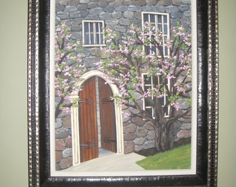 Stone Castle with Blooming Dogwoods