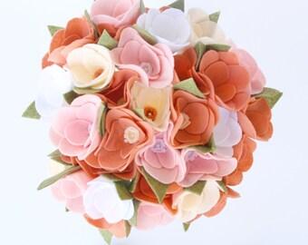 Wedding bouquet - felt flower wedding bouquet - wedding flowers