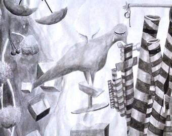 Original Surreal Ink Painting