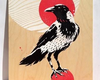 Crow, Stencils and spray paint on wood, Modern Art, Pop Art, 15,7 x 15,7 in