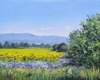 Yellow Sunflower Fields Original oil Painting