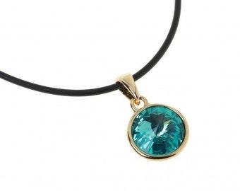 Pendant Alhena (941), Multicolor Swarovski Crystal, Gold Tone necklace, gift idea for her unique