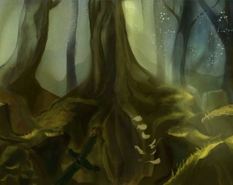 Background Art, Enchanted Forest, Old Ruins