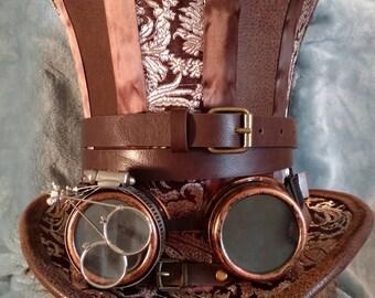 Copper Brocade Steampunk Top Hat