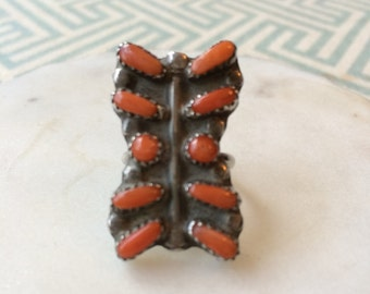 Large,unusual silver and orange stone ring