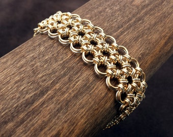 Japanese Chainmail Hana Gusari Bracelet - Reversible -  Sterling Silver & 14kt Gold fill