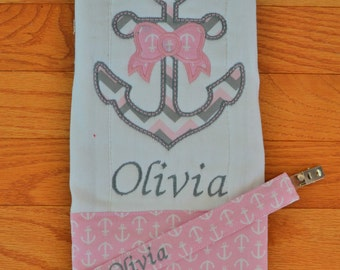 Anchor with Bow Burp Cloth and Pacifier Clip Set Baby Girl Set Personalized Burp Cloth