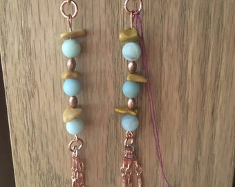 Amazonite with copper beads and rock stones