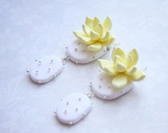 Yellow, White Succulents Polymer Clay and Sterling Silver Earrings