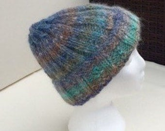 Cosy hand knitted beany hat angora mix