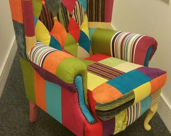 Stunning Patchwork Wing back chair multicoloured -Made in London