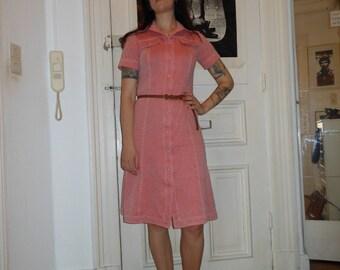 1970s Secretary Red Dress Button down