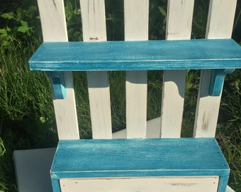 White picket fence, distressed, wall shelf