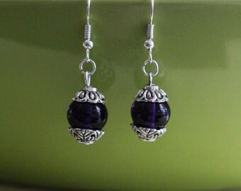 Dark purple glass bead earrings