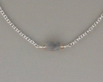 Grey Moonstone and Lemon Citrine Sterling Silver Necklace