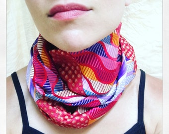 Colorful silk infinite scarf
