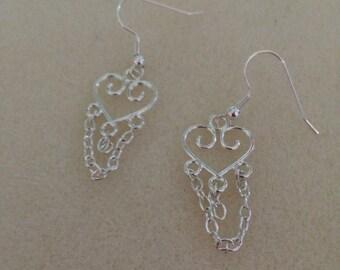 Heart Chandelier Earings