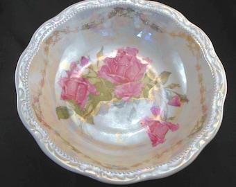 1950s Porcelain Rose Decaled Serving Bowl