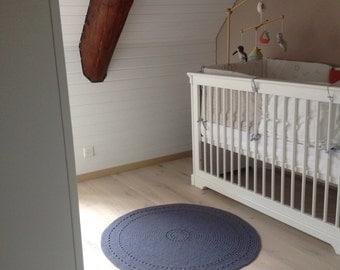 Flour wool round rug - blue